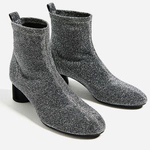 Zara sock style shimmer silver glitter booties ✨